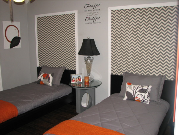 Guest Getaway for the Grand Kids , Just wanted a fun room that would accommodate both Grandson/Granddaughter while still allowing my college age daughter to come home and not be in a kiddie room.  The low profile beds  are great with gray and orange colors accents.  I wanted something a little different over the beds, so I framed out area and use a zigzag fabric.  I made the curtains in a coordinating fabric.  The orange mirror is a nice pop of color., pillows made by me with same fabric as curtains, Bedrooms Design