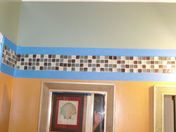 Energy and Calm Powder Room, It's glassy mosaic border as wallpaper border. , Bathrooms Design