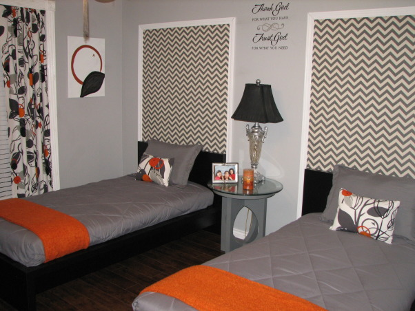 Guest Getaway for the Grand Kids , Just wanted a fun room that would accommodate both Grandson/Granddaughter while still allowing my college age daughter to come home and not be in a kiddie room.  The low profile beds  are great with gray and orange colors accents.  I wanted something a little different over the beds, so I framed out area and use a zigzag fabric.  I made the curtains in a coordinating fabric.  The orange mirror is a nice pop of color., Zigzag fabric framed over the beds, Bedrooms Design