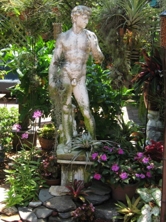 Tropical Treasure, I actually transformed this space for a couple of dear friends of mine. It was the gift of my labor and talent to them for their generosity.They let me stay in their home while i was in between my own spaces. , Anchored among the planting a statue of david , Gardens Design