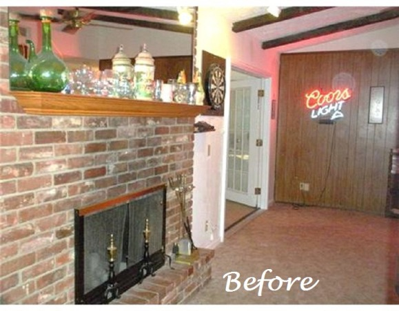 Fireplace fix up,    Just a small amount of fixing up I changed this old dated fireplace into a happy and fun focal point., http://wp.me/1MmG7   Check out my blog too!   When we first moved in there was a golden oak shelf style mantel hung way to high with an unframed mirror sitting on top of it, also a bit dirty. It was visually awkward., Living Rooms Design