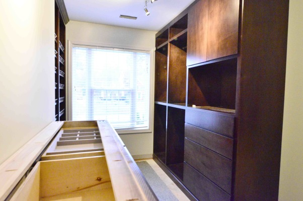 Ooooh lala, Time to grow up! We had been talking for 9 years about adding another walk-in closet in our master bedroom, and finally did!! This sophisticated space is one of our favorite rooms in the house now! Constructed of solid wood cabinets., Closets Design