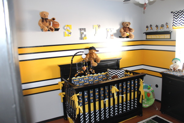 Steeler football room, Steelers football theme room. Included bears to make it more child like. All stripes are painted (not a decal). Lockers are also custom painted, Crib with custom bedding. Created letters for his name and my wife painted them., Boys' Rooms Design