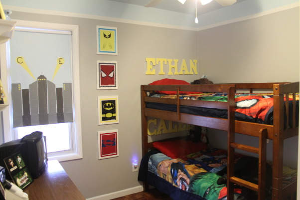 Superhero Boys Room, We just converted our playroom back into a bedroom for our two boys. We wanted a more modern/clean cut superhero theme. They love it!, New bunk beds, paint, and art I made for their walls, Boys' Rooms Design