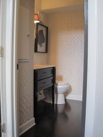 Powder Room: Style on a Budget, I put a lot of time into our powder room, as this is a space all you guests see!!  I didn't let a small budget keep me from creating exactly the space I wanted.  It just took some patience and a little DIY. www.confettiandstripesblog.com, The hardwood floors that we put into the rest of the house were also used in this room.  It creates a much better flow in a small town house.  , Bathrooms     Design