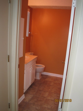 Powder Room: Style on a Budget, I put a lot of time into our powder room, as this is a space all you guests see!!  I didn't let a small budget keep me from creating exactly the space I wanted.  It just took some patience and a little DIY. www.confettiandstripesblog.com, Before: Holy orange! laminate floor, old everything....everything came out!!!  , Bathrooms     Design