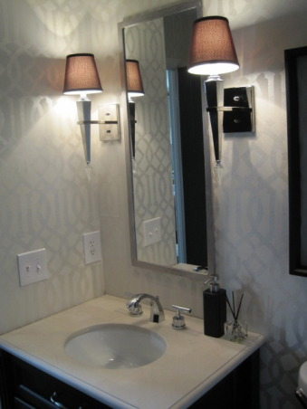 Powder Room: Style on a Budget, I put a lot of time into our powder room, as this is a space all you guests see!!  I didn't let a small budget keep me from creating exactly the space I wanted.  It just took some patience and a little DIY. www.confettiandstripesblog.com, Bathrooms     Design
