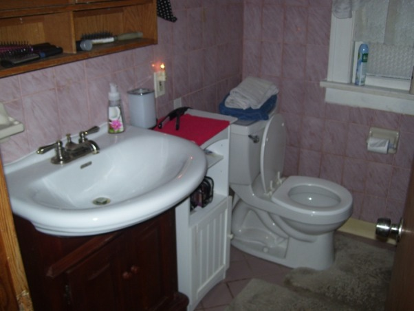 MY UGLY BATHROOM, our only bathroom besides a toilet in the basement...needs major re-do BAD!, Best part of my bath, my sick out of place in the horror..new toilet also..pink tile must GO!  The shower is equally bad..awful pink tile, drain closer in tub is broken..yes duct tape to block drain when filling tub, disgraceful! , Bathrooms Design