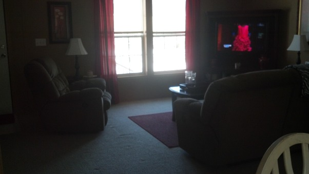 Haven't Posted In Awhile, This is our living room today. I recently changed the curtains to red & I think they make the room warmer. We love our reclining sofa & that is why the coffee table is so far away from it, so we can still recline. I tried Burgundy shades on the lamps & loved how they looked but they weren't bright enough so went back to the white lol. , View from dining room, Living Rooms Design