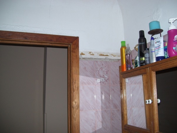 MY UGLY BATHROOM, our only bathroom besides a toilet in the basement...needs major re-do BAD!, door way..broken tile never replaced...I do have all pieces though!, Bathrooms Design