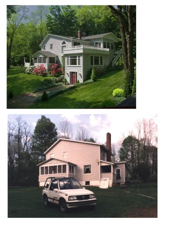 house makeover, Paradise in the Endless Mountains, Before and after  front, Home Exterior Design