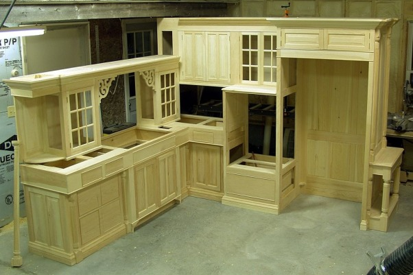 home built cabinets, self designed and built kitchen, opened up side of the house to change shape of the kitchen from galley to that of a conventional kitchen., in my shop before finish, Kitchens Design