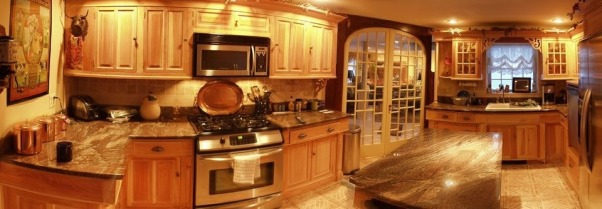 home built cabinets, self designed and built kitchen, opened up side of the house to change shape of the kitchen from galley to that of a conventional kitchen., Kitchens Design