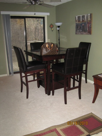Frugal Dining Room Makeover., Most of the pieces in this room were either DIY, flea market finds reinvented, or items found on super sale!  See more photos and projects on my blog: www.confettiandstripesblog.com, before: with the previous owners furniture that was too big for the space! www.confettiandstripesblog.com  , Dining Rooms   Design