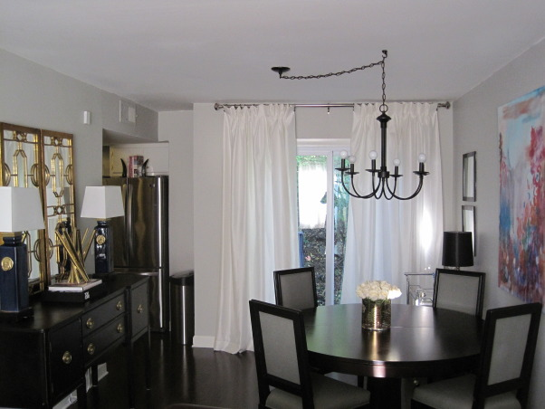 Frugal Dining Room Makeover., Most of the pieces in this room were either DIY, flea market finds reinvented, or items found on super sale!  See more photos and projects on my blog: www.confettiandstripesblog.com, After: hardwood floors & new back door installed www.confettiandstripesblog.com  , Dining Rooms   Design