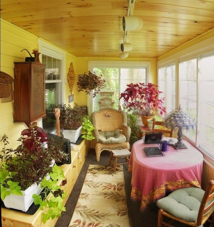 Porch remodel from hurricane damage, Sun porch, Added pine tongue and groove ceiling, Insulation, Pine benches with storage, Paint and carpeting. The porch is now heated and acts as a miniature greenhouse., Porches Design