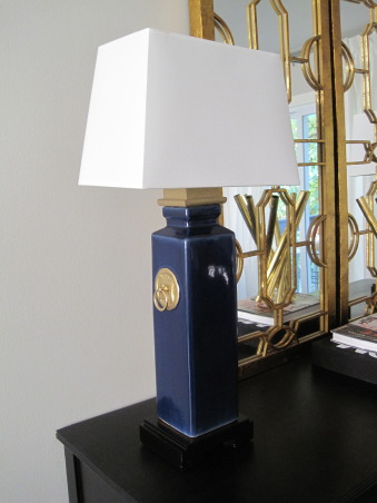 Frugal Dining Room Makeover., Most of the pieces in this room were either DIY, flea market finds reinvented, or items found on super sale!  See more photos and projects on my blog: www.confettiandstripesblog.com, These lamps I made from flower vases.  I painted the medallions on the sides gold and added the ring pulls.  Then added the box to the top and wired the vase to become a lamp! www.confettiandstripesblog.com  , Dining Rooms   Design
