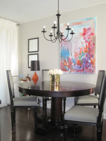 Frugal Dining Room Makeover., Most of the pieces in this room were either DIY, flea market finds reinvented, or items found on super sale!  See more photos and projects on my blog: www.confettiandstripesblog.com, grey painted walls.  RH dining table. www.confettiandstripesblog.com  , Dining Rooms   Design