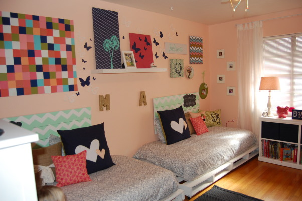 upcycled modern shabby chic, 9 year old twins share this room. Everything in the room was either painted over to change the look or covered in fabric! A very good friend of mine sews and has a wonderful sense of design and did this for us for around $200 for paint and fabric!, view from the door. Beds made from palettes!, Girls' Rooms Design