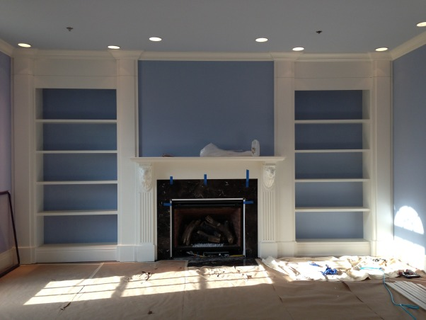 tv over fireplace, media place over the fireplace design and builted by me, bookcase and fireplace, Living Rooms Design