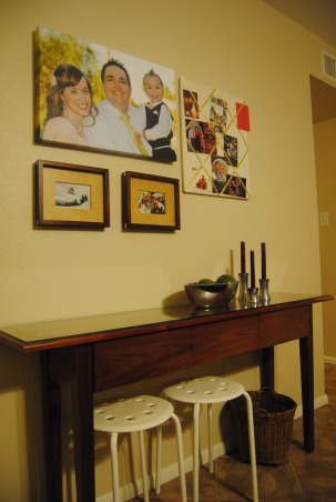 IKEA + me Family Room, Yes, I love color. Yes, I love IKEA. This room showcases both. I would--of course--love any positive feedback on my space, but also let me know if you have suggestions for small improvements. Thanks!, Another view of the entryway vignette. The foyer table was handcrafted and custom-designed by my father as a housewarming gift this summer. The large photo is a photo-canvas I purchased through Groupon for $45, and I love it. Worth every penny! , Living Rooms Design