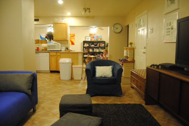 IKEA + me Family Room, Yes, I love color. Yes, I love IKEA. This room showcases both. I would--of course--love any positive feedback on my space, but also let me know if you have suggestions for small improvements. Thanks!, This is the view from the family room looking back to the rest of the house. , Living Rooms Design