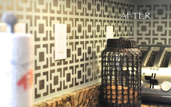 Stenciled Kitchen Backsplash, For a while, I was trying to figure out an alternative to tile for a kitchen backsplash. I would love to get a real deal in a form of, let's say, a cool glass mosaic tile, but not with the cabinets that we have right now. If down the road, we decide to stay in this house for several years, then I would want to get some nice custom cabinetry with a backsplash to go with it. But for now, I wouldn't want to spend money on the tile backsplash that will be ruined if we decide to change the cabinets. Anyway, I thought that geometric stencil might actually do the trick. So, here is the before and after kitchen backsplash. I used bronze stencil cream and dry brushing application method.  Btw, I did also paint the kitchen cabinets myself. Originally they were this horrible orange wood color that made them look extremely cheap. , Kitchens Design