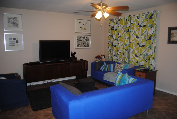 IKEA + me Family Room, Yes, I love color. Yes, I love IKEA. This room showcases both. I would--of course--love any positive feedback on my space, but also let me know if you have suggestions for small improvements. Thanks!, Another view of the room gives you a better view of the TV and the items on that wall. , Living Rooms Design