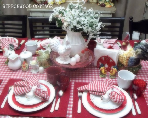 Valentine's Station and Tablesettings, Farmhouse kitchen and dining room. Sweet Valentine station for  friends and family to make goodie bags filled with candy and  Valentines cards that they can make while they are over for a quick visit. Decorated in pinks, reds, whites. Many vintage baking items filled with Valentine crafts and candy. I show you how to use every day items to put this special little vignette together., Kitchens Design
