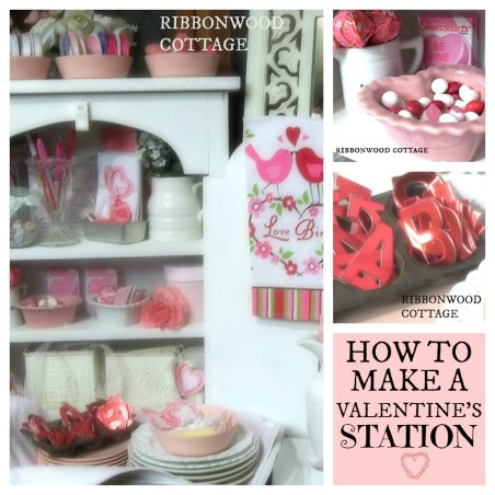 Valentine's Station and Tablesettings, Farmhouse kitchen and dining room. Sweet Valentine station for  friends and family to make goodie bags filled with candy and  Valentines cards that they can make while they are over for a quick visit. Decorated in pinks, reds, whites. Many vintage baking items filled with Valentine crafts and candy. I show you how to use every day items to put this special little vignette together., I made a Valentine station with a white shabby hutch  , Kitchens Design