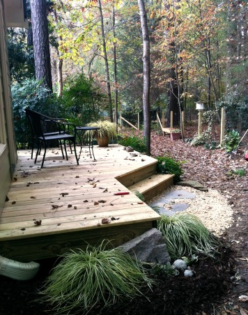 Meditative Garden Retreat, We love the out of doors and working in our constantly changing yard. We created this garden house to offer a restful retreat at the end of the garden work day. , The back deck offers a shady retreat and overlooks a small stream in the woods. , Gardens Design