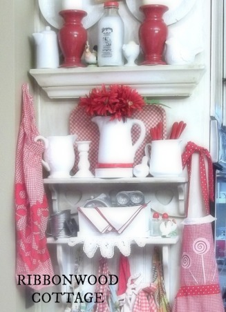 Valentine's Station and Tablesettings, Farmhouse kitchen and dining room. Sweet Valentine station for  friends and family to make goodie bags filled with candy and  Valentines cards that they can make while they are over for a quick visit. Decorated in pinks, reds, whites. Many vintage baking items filled with Valentine crafts and candy. I show you how to use every day items to put this special little vignette together., Kitchen shelves in my farmhouse kitchen, with vintage white ironstone pitchers and some red and white decor.  , Kitchens Design