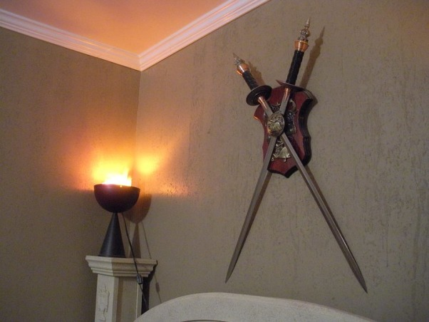 Italian Decor made for a Warrior, My son's room was decorated with the Roman twist in order to incorporate his large collection of weapons and sword mural collection., Bedrooms Design