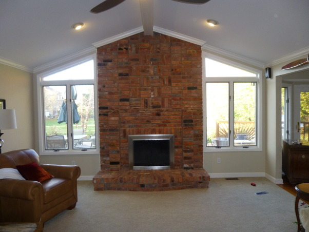 Fireplace Remodel, Stone Fireplace and New Hardwood Floors were added to update 1980's fireplace, Before - 1980's Brick Fireplace and Carpeted Floors   , Living Rooms Design