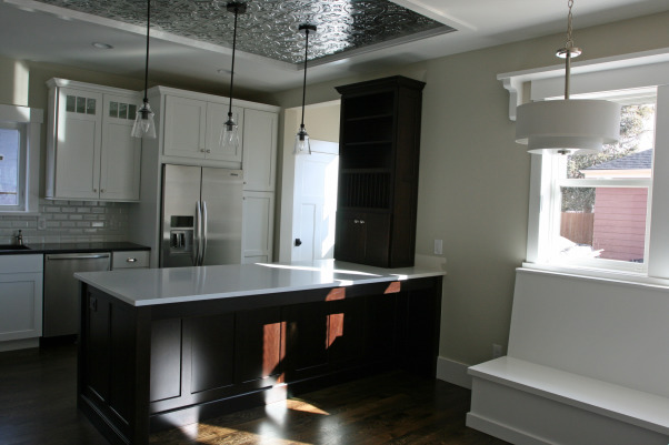 tin ceiling kitchen with built in nook., Kitchens Design