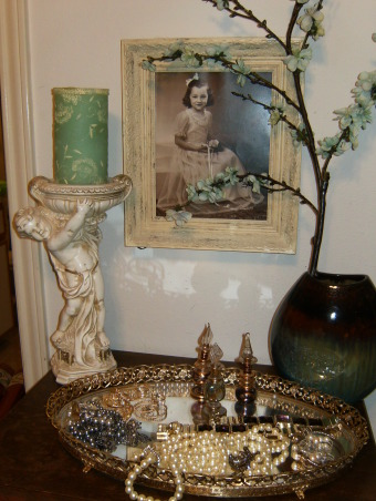 French Blue Bedroom, A tiny bedroom made elegant with antiques and French Blue paint, antique photos framed in ivory flameless candles that are safe when my nieces visit a mirrored tray for jewelry and perfume, Bedrooms Design
