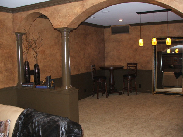 A touch of Tuscany, A separate gameroom has been designed into the plan.   , Basements Design