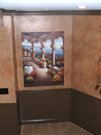 A touch of Tuscany, Artwork at the bottom of the entry.  , Basements Design