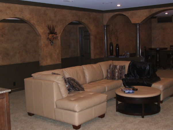 A touch of Tuscany, Leather seating custom designed for this new space.  , Basements Design