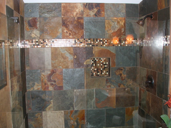 A touch of Tuscany, Slate shower with small designer tile accents completes this DIY project.   , Basements Design