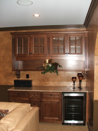 A touch of Tuscany, Every basement needs a refreshment area. Note the beautiful granite counter top.   , Basements Design