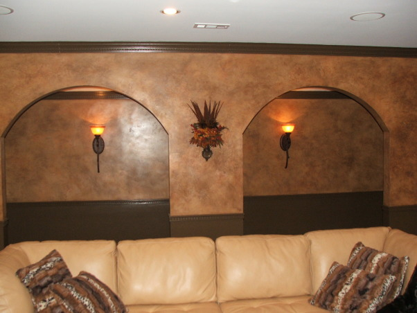 A touch of Tuscany, Arched doorways accentuate the room.  , Basements Design