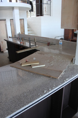 My kitchen under construction , Well i started this kitchen in 2012 and it is still under work it will soon finish , This is the counter top i have chosen my wife is upset it was granite but i changed it because i was concerned about germs.     , Kitchens Design