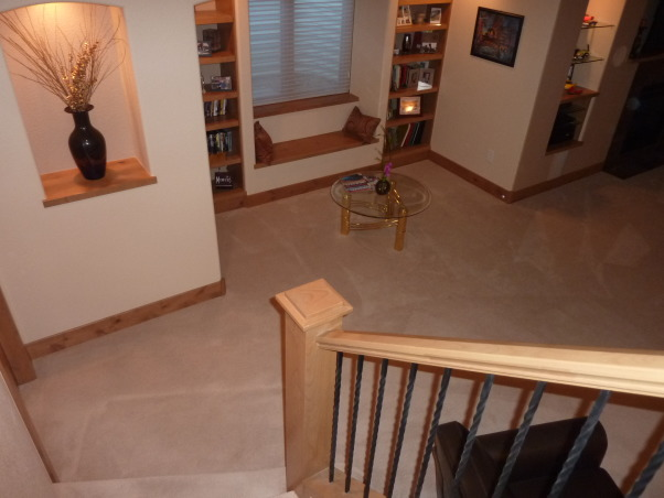 Fab Finished basement 2010, We finished our basement of our home, adding a bedroom, workout room, bath, curved bar and great tv viewing area!, Down the steps..., Basements Design
