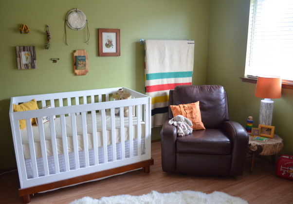 Penny's Modern Rustic Room, For Penny's room I decided to incorporate elements from nature along with some mid century furniture pieces. We went with a neutral green color for the walls and stayed clear of anything pink. We added a sentimental touch by putting legs on our wedding cake stand for her table and making her lamp from a found vase and lamp kit. In the end we definitely achieved the calm and cozy feel we were going for in her room and she loves it!, Nurseries  Design