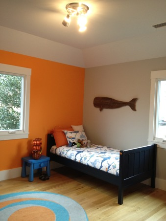 happy room for a 4 year old boy, this room came together based off of the shark bedding from pottery barn kids.  my then 3 year old liked it and i happened to like it too, so there you go.  he asked for the orange wall, which i also was on board with.  i've found so many options when searching for sea life accessaries.  it's been fun!, side table - ikea  , Boys' Rooms   Design