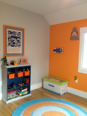 happy room for a 4 year old boy, this room came together based off of the shark bedding from pottery barn kids.  my then 3 year old liked it and i happened to like it too, so there you go.  he asked for the orange wall, which i also was on board with.  i've found so many options when searching for sea life accessaries.  it's been fun!, shark - etsy striped fish art - land of nod toy box - ikea (we use it to store costumes) rug - rosenberry rooms  , Boys' Rooms   Design
