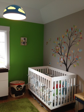 baby boy's owl oasis nursery, here is my 15 month old baby boy's nursery.  he is my 3rd little boy, but i still wanted to create a new, fun, and happy space for him that was different from his older brother's nurseries.  i've always loved owls so when i found this bedding at dwell studios, i ran with the theme.  it started with only the baby essentials, but as he's growing i've added a few toys for his entertainment.  it's a work in progress - still need window coverings.  hope you like it. , tree picture - urban outfitters owl hamper - 3 sprouts, Nurseries   Design