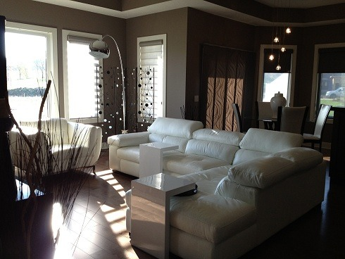 Its all just right, Brand new villa with neutral decor.  This is the Great Room.    , Living Rooms Design