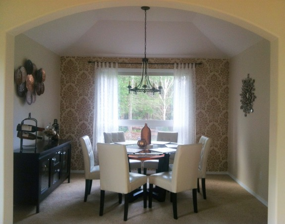 Copper Obsession Dining Room, Dining room with copper accents, and metallic stencil wall., Dining Rooms Design
